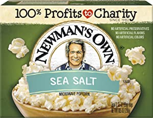 Newman's Own Microwave Popcorn, Sea Salt, 9.6-oz. (Pack of 12)