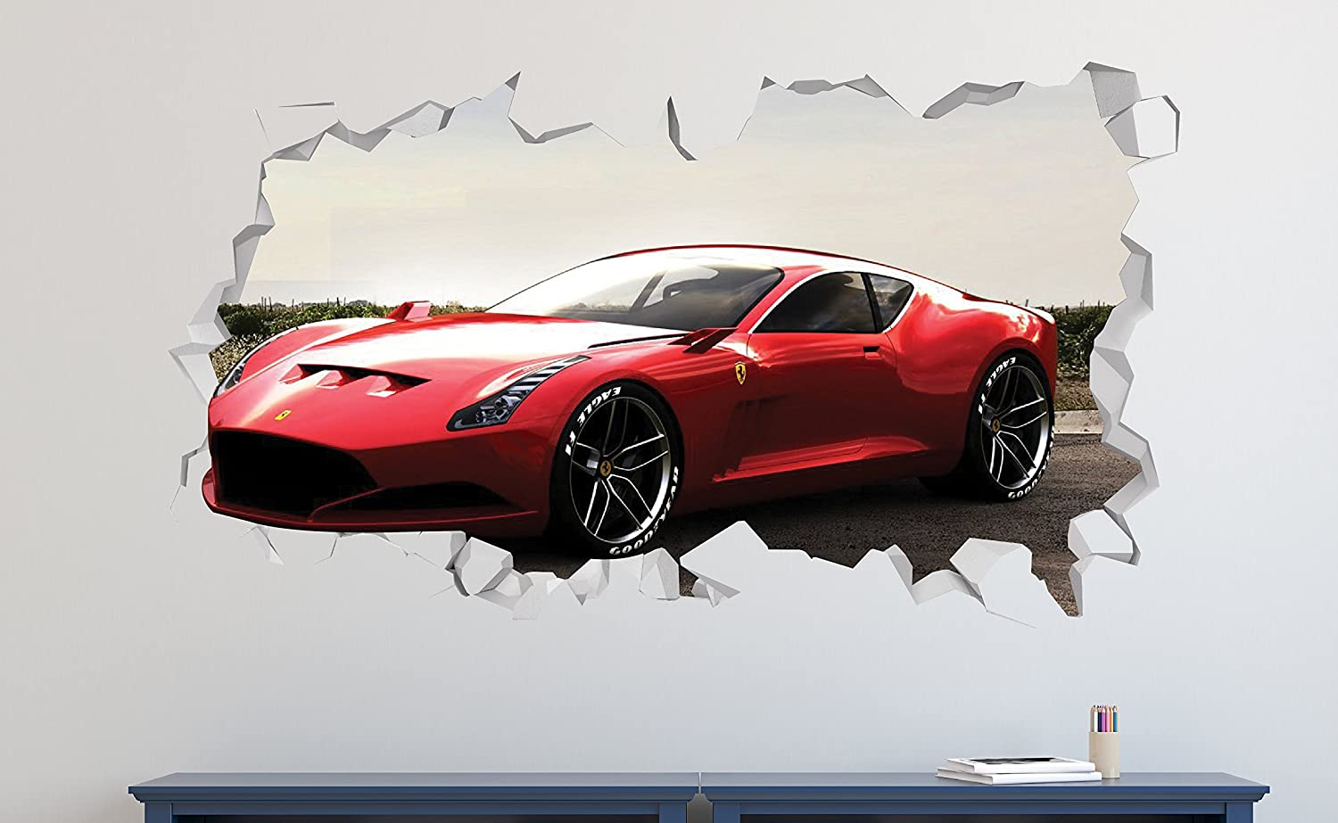 Ferrari 612 Gto >> Ferrari 612 Gto Wall Decal Smashed 3d Sticker Vinyl Decor Mural Sport Car Broken Wall 3d Designs Ls276 Small Wide 22 X 12 Height