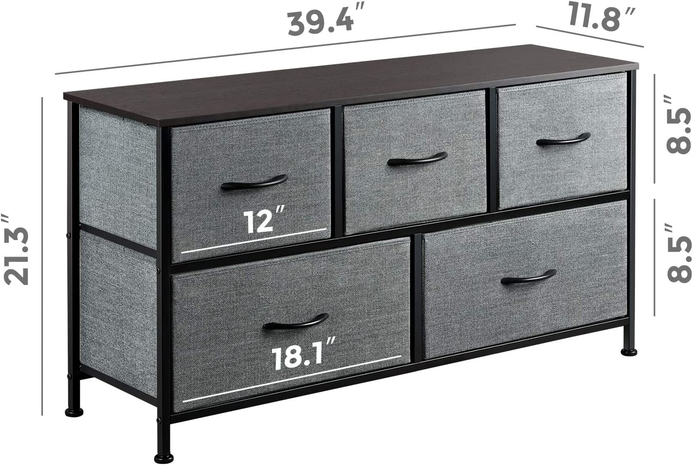 WLIVE Dresser with 5 Drawers, Dressers for Bedroom, Fabric Storage Tower, Hallway, Entryway, Closets, Sturdy Steel Frame, Wood Top, Easy Pull Handle -