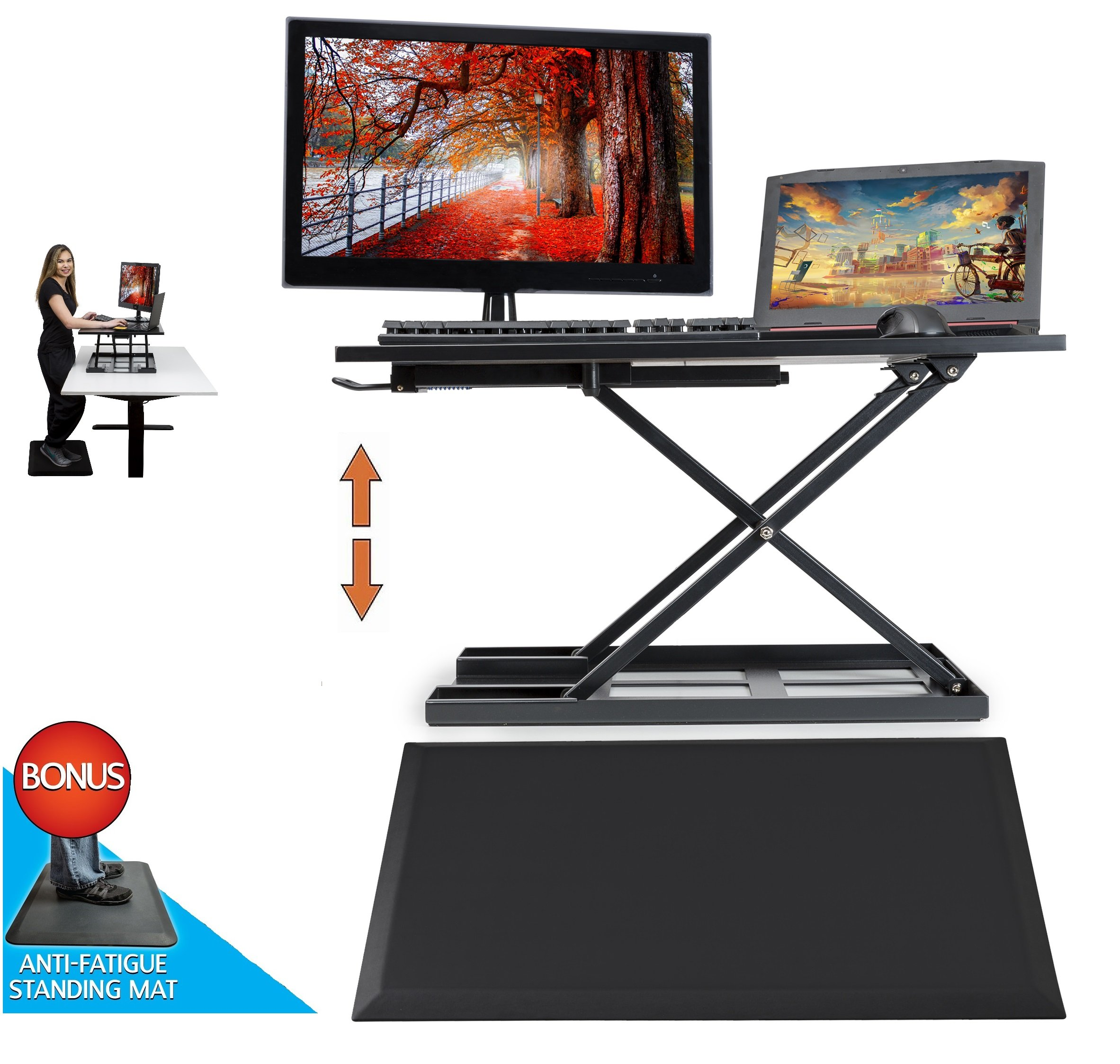 Standing Desk with Anti Fatigue Mat, Height - Adjustable Desk - Standup Workstation - Largest Surface 32 inches Wide, Convert any Desk to Sit Stand up, COMES FULLY ASSEMBLED, Koozam Office