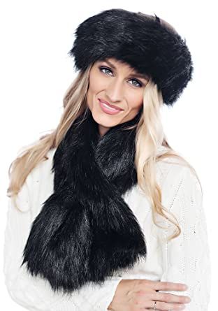 591856113239 Donna Salyers Fabulous Furs Pull-Through Scarf (Black Fox) at Amazon  Women s Clothing store