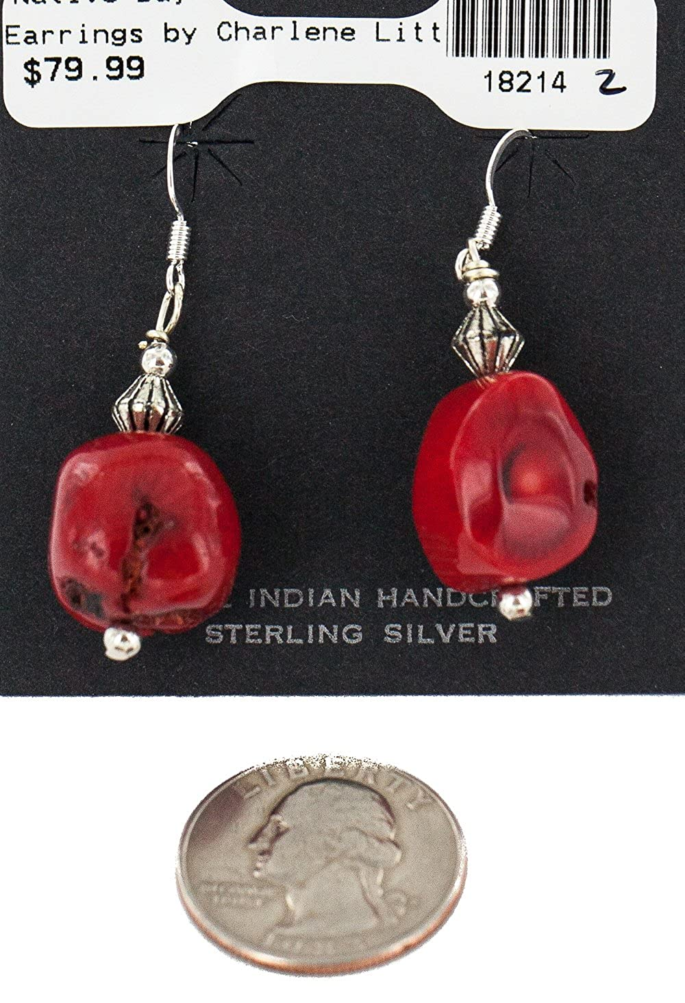 $80Tag Certified Authentic Silver Hooks Coral Native American Dangle Earrings 18214-2 Made By Loma Siiva