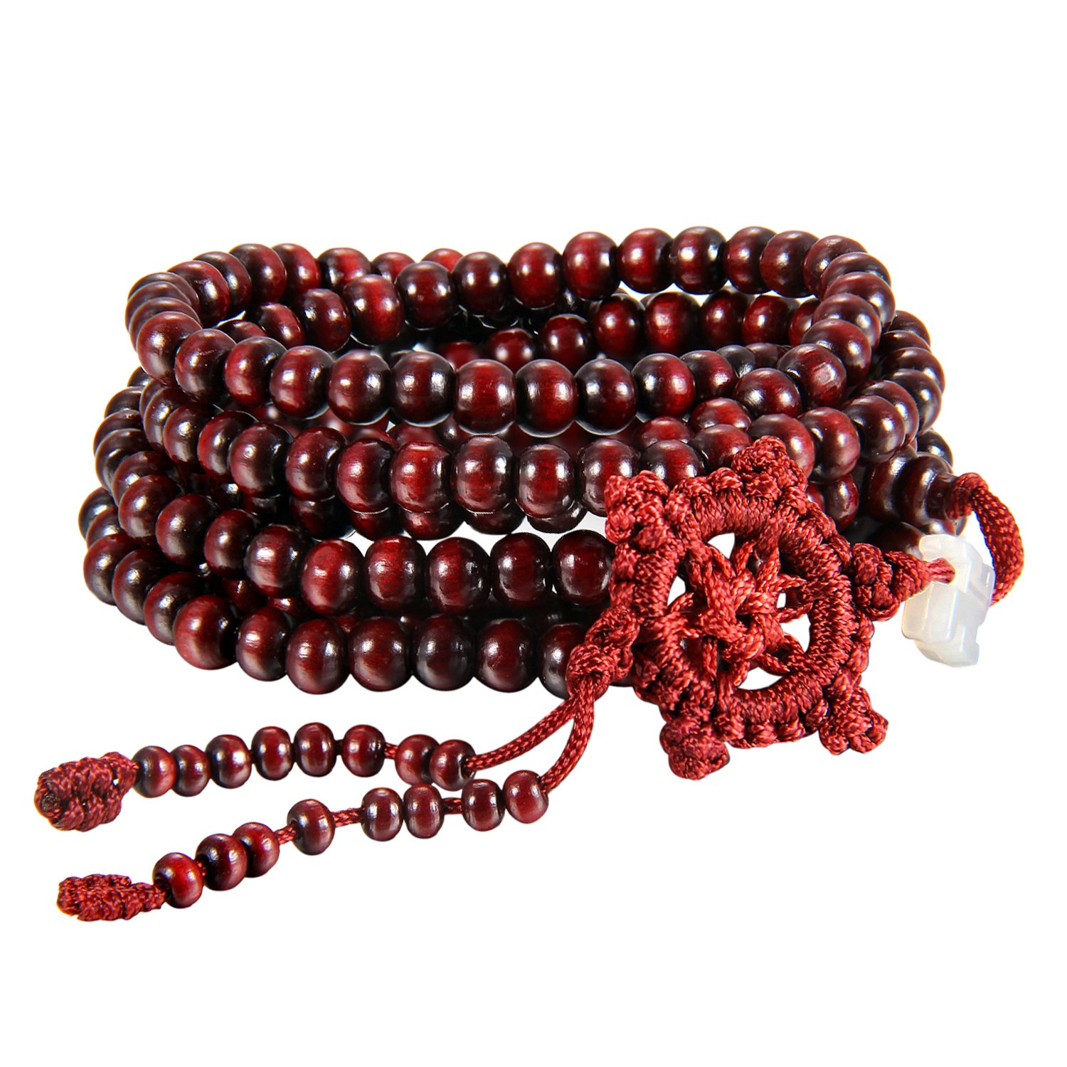 Flongo Men's Womens Sandal Wood Prayer Mala Beads Chinese Knot Elastic Bracelet Link Wrist Necklace Chain FLG02881