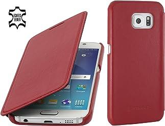 StilGut Book Type Case, Custodia in Pelle a Libro per Samsung Galaxy S6, Rosso Nappa