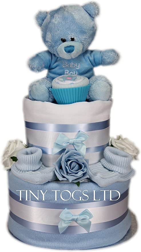 Remarkable Baby Boy Two Tier Nappy Cake New Born Baby Shower Gift With Sock Personalised Birthday Cards Petedlily Jamesorg