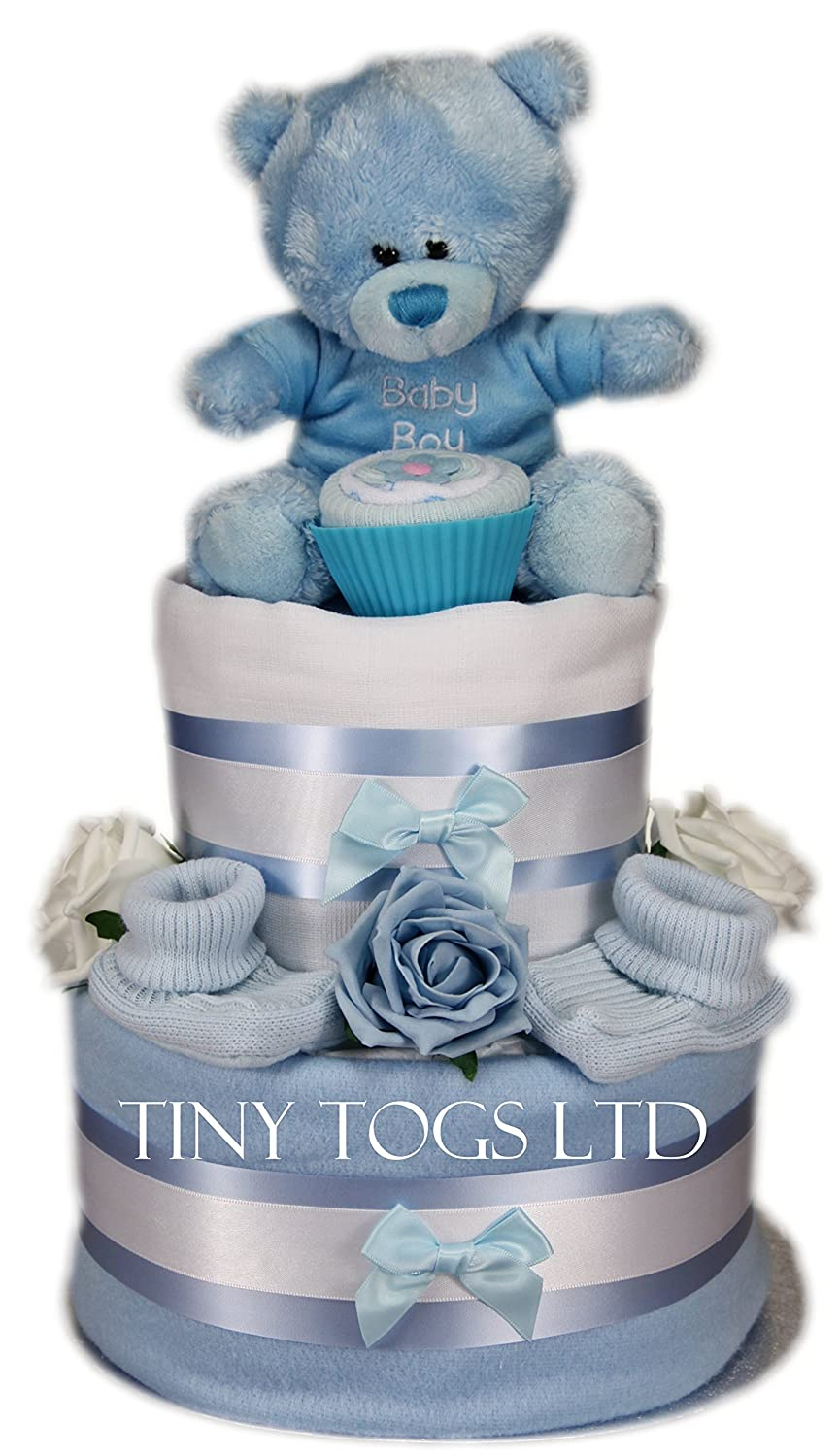 Baby Boy Two Tier Nappy Cake New Born Baby Shower Gift with Sock Cupcake and Blue Teddy Bear Tiny Togs Ltd