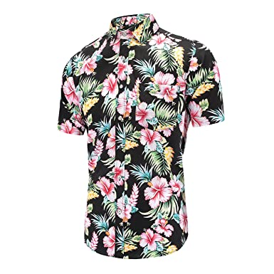 3ca37107 Men's Pineapple Flower Casual Button Down Short Sleeve Aloha Hawaiian Shirt  (Black ...