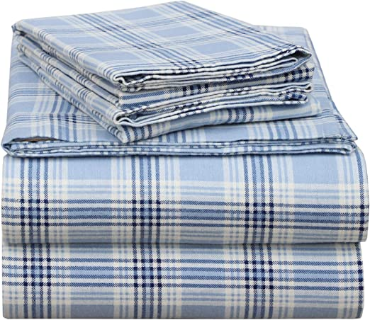 FreeShipping Everyday Living Flannel Sheet Set 100/% Cotton Full Blue Snowflake