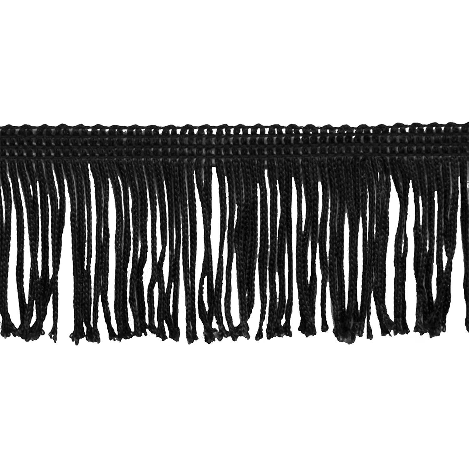 Brushed Fringe 2-Inch Long Chainette Polyester Fringe in 10 Yard Rolls P-7043 in Color 02 Black Belagio Enterprises P-7043- 02 BLACK