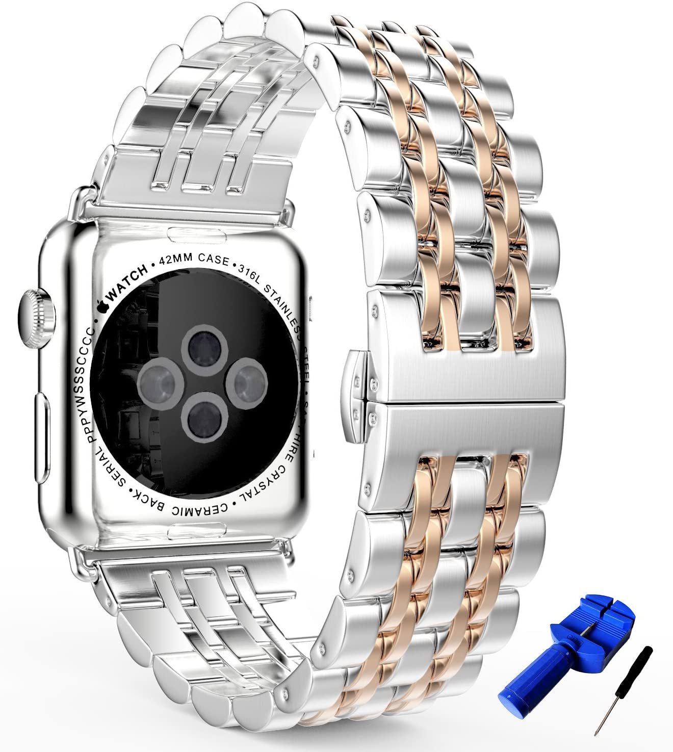 HUANLONG Compatible with Apple Watch Band, Solid Stainless Steel Metal Replacement Watchband Bracelet with Compatible with iWatch Series 1/2/3/4/5(LS 38mm Silver/Rosegold)