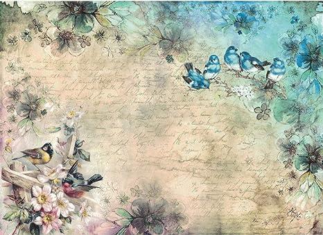 Parrots Motiv-Strohseide Strohseidenpapier Zita`s Creative Reispapier A4 Decoupage Papier
