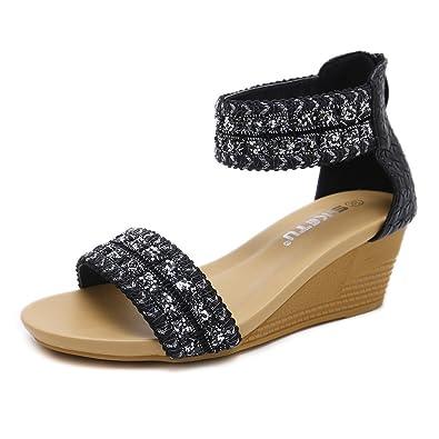 7d01ad746 JACKY LUYI Women s Bohemian Platform Sandals Glitter Wedge Sandals Floral Thong  Shoes Blcak 7