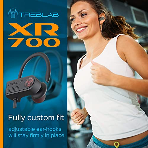 Treblab XR700 PRO Wireless Running Earbuds – Top 2019 Sports Headphones, Custom Adjustable Earhooks, Bluetooth 5.0 IPX7 Waterproof,Rugged Workout Earphones, Noise Cancelling Microphone in-Ear Headset
