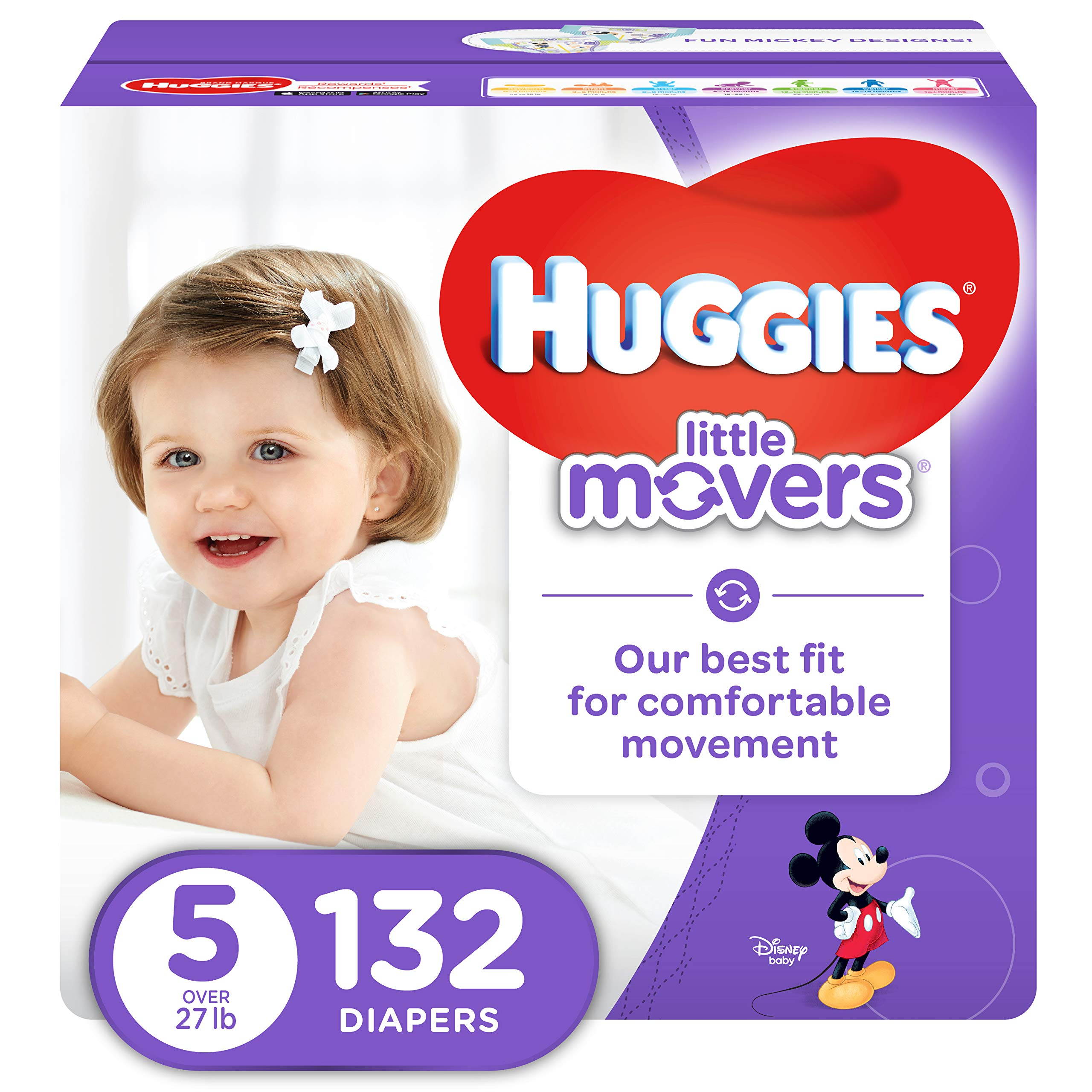 HUGGIES LITTLE MOVERS Active Baby Diapers, Size 5 (fits 27+ lb.), 132 Ct, ECONOMY PLUS (Packaging May Vary) by HUGGIES