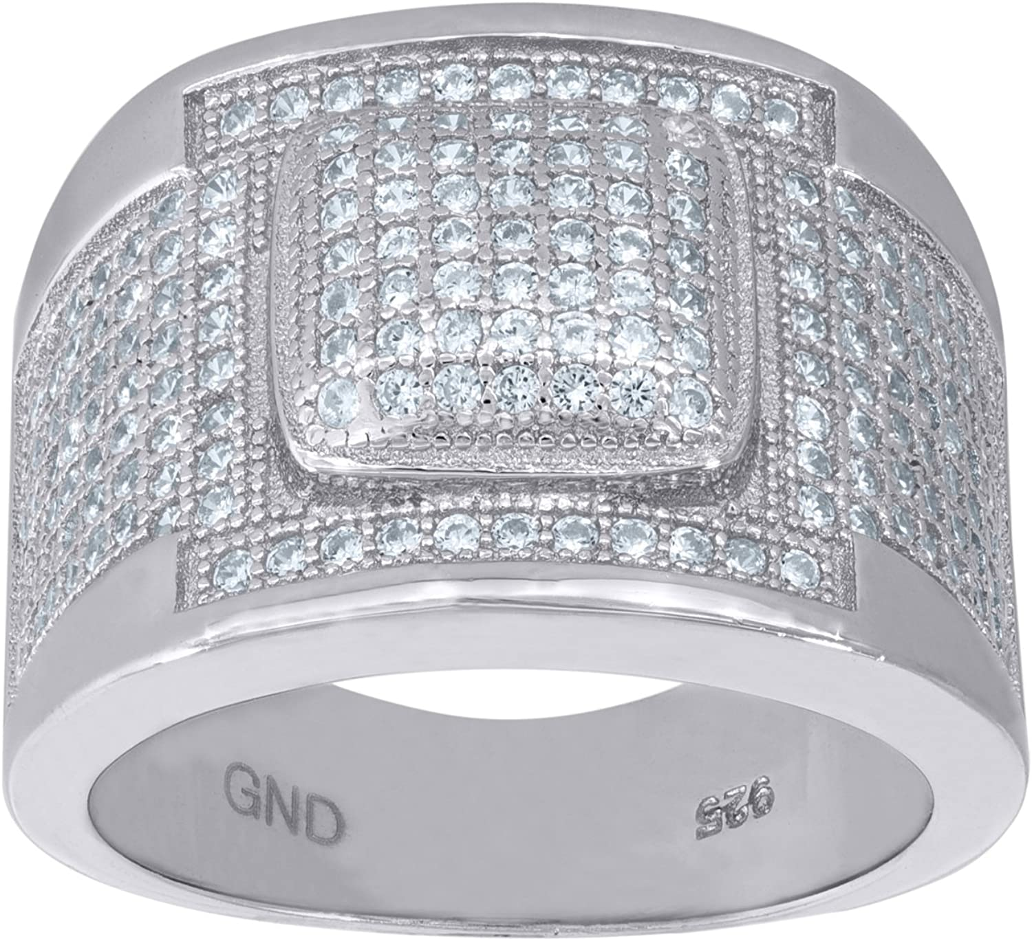 Jawa Jewelers 925 Sterling Silver Micro Pave Cubic Zirconia CZ Mens Fashion Ring Band