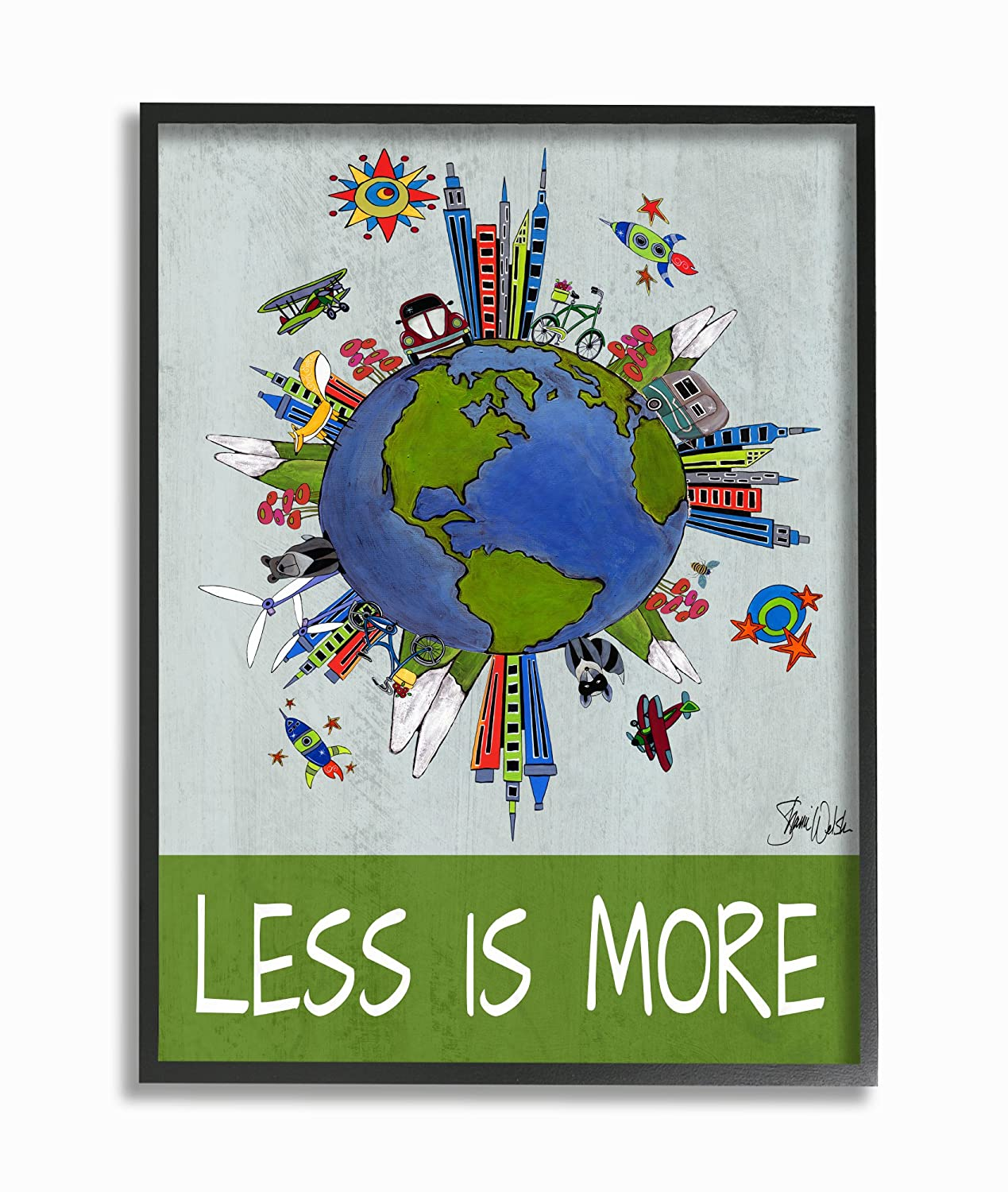 Proudly Made in USA Stupell Home D/écor Less Is More Global Values Framed Giclee Texturized Art 11 x 1.5 x 14