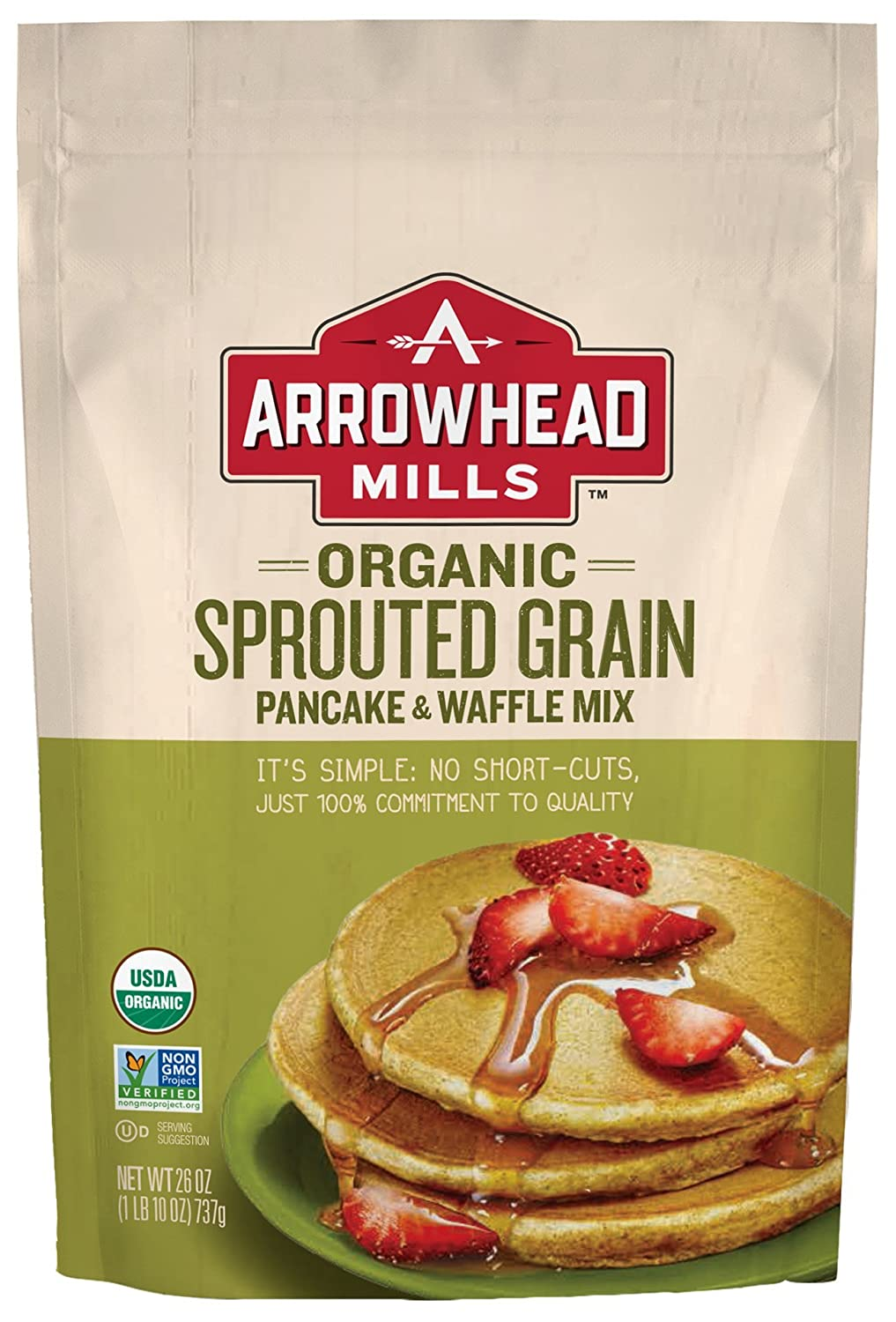 Amazon arrowhead mills organic sprouted grain pancake and amazon arrowhead mills organic sprouted grain pancake and waffle mix 26 oz bag oeganic pancake mix grocery gourmet food ccuart Image collections