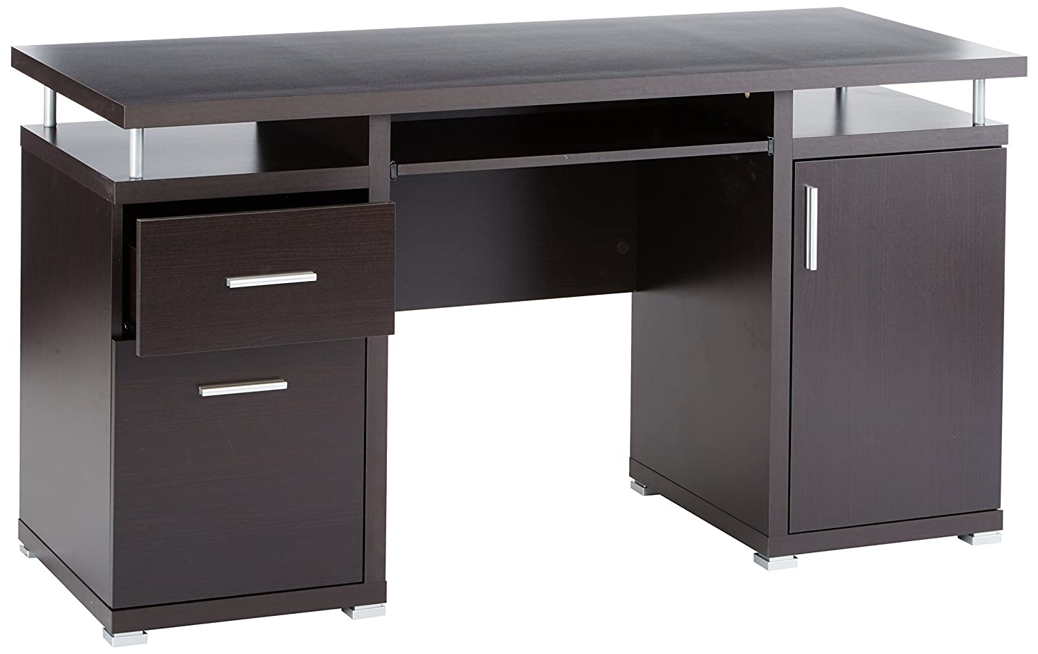 Amazon.com: Computer Desk With 2 Drawers And Cabinet Cappuccino: Kitchen U0026  Dining