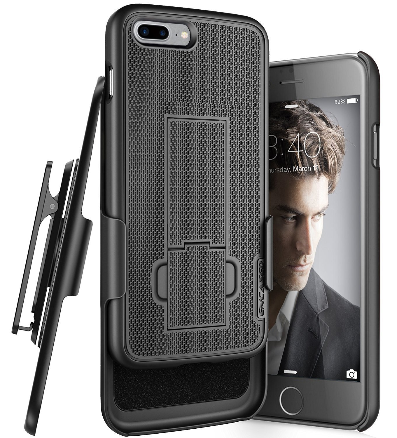 Encased iPhone 7 Plus 5.5'' Belt Clip Case, (Ultra Thin) Secure-fit Cover w/ ClikLock Holster (Black)