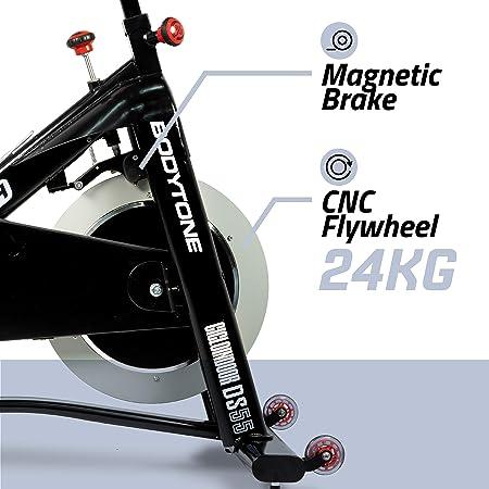 BT BODYTONE - DS55 - Bicicleta Magnetica Ciclo Indoor - Rueda de inercia de 24kg - Compatible con Zwift y Bkool. Peso Máximo Usuario 130 KG.: Amazon.es: Deportes y aire libre