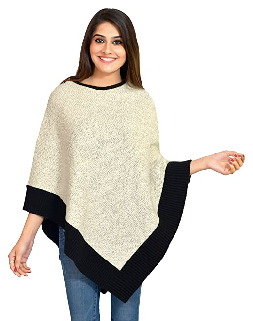 ee60025fd9fa VHITZ Women s Acrylic Creation Pleasant Monsoon Woollen Pullover Cardigan  Fuss-free Poncho s Top Shrug (Off-White