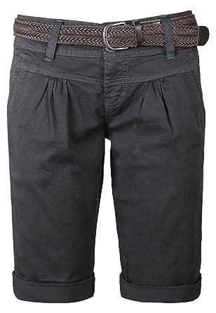 Fresh Made Damen Bermuda-Shorts im Chino Style | Elegante kurze Hose mit  Flechtgürtel dark