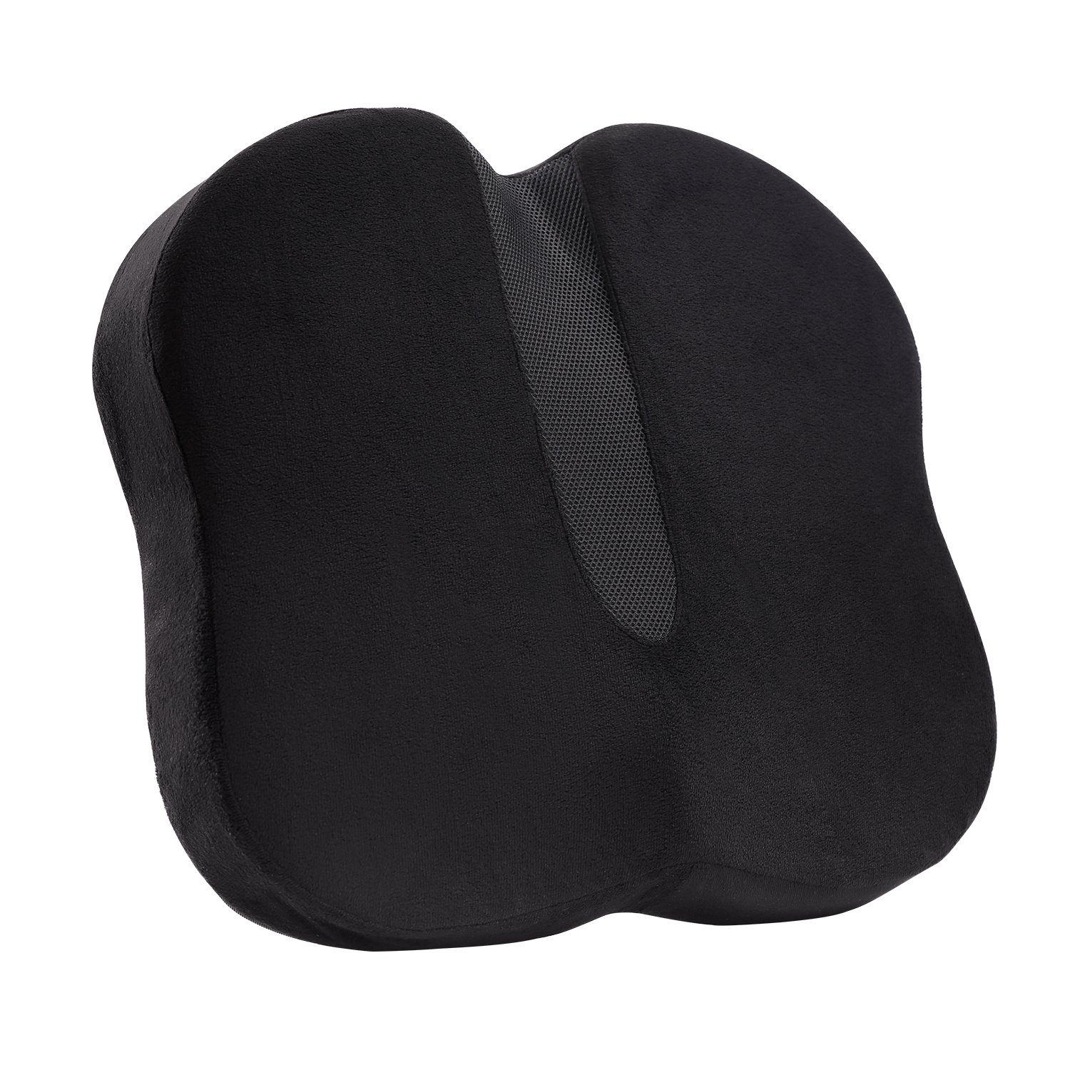 Luxspire Coccyx Orthopedic Seat Cushion, Memory Foam Ergonomic Contoured Seat Cushion Lumbar Support Cushion Pillow Relieves Back Pain, Sciatica and Tailbone Pain, for Office Chair, Car Seat, Black