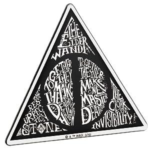 Fan Emblems Deathly Hallows Car Decal Domed/Black/Chrome Finish, Harry Potter Automotive Emblem Sticker Easily Applies to Cars, Trucks, Motorcycles, Laptops, Cellphones, Windows, etc.