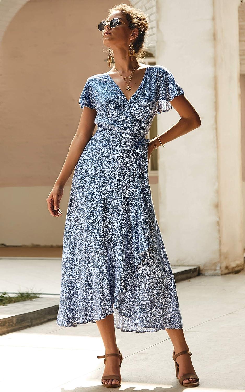 Spec4Y Damen Boho Lange Kleider V-Ausschnitt Sommerkleider Kurzarm Wickelkleid Maxikleid Strandkleid mit Schlitz