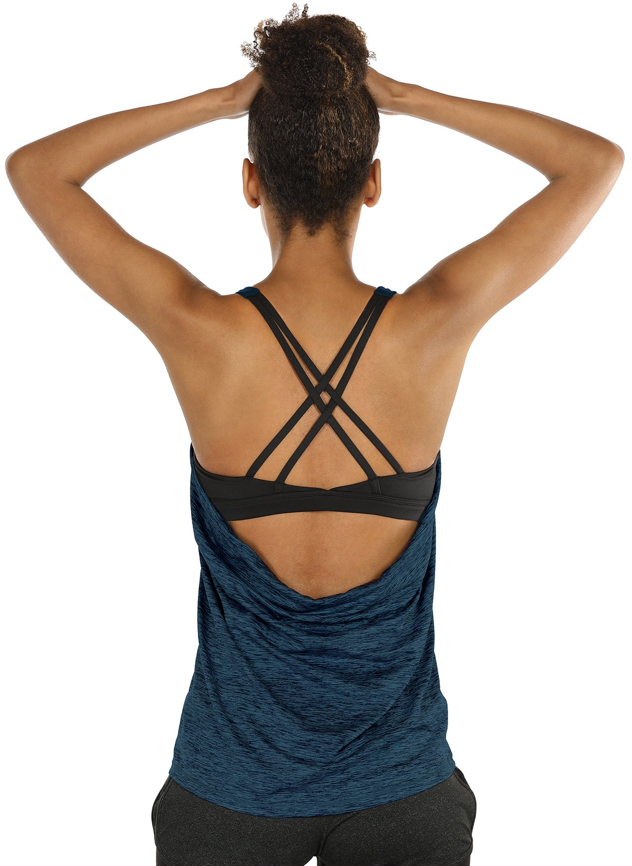icyzone Yoga Tops Workouts Clothes Activewear Built in Bra Tank Tops for Women(M, Blue)