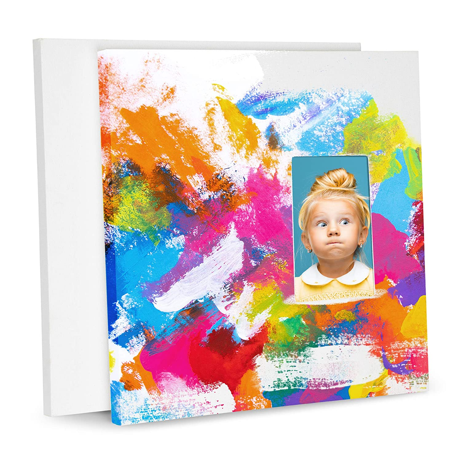 Premium Arts and Crafts canvasses Painting for Kids, Picture Frame toddlers art boards craft projects sets, White canvases Father & Mothers day birthday Gifts, baby footprint canvas board supplies kit