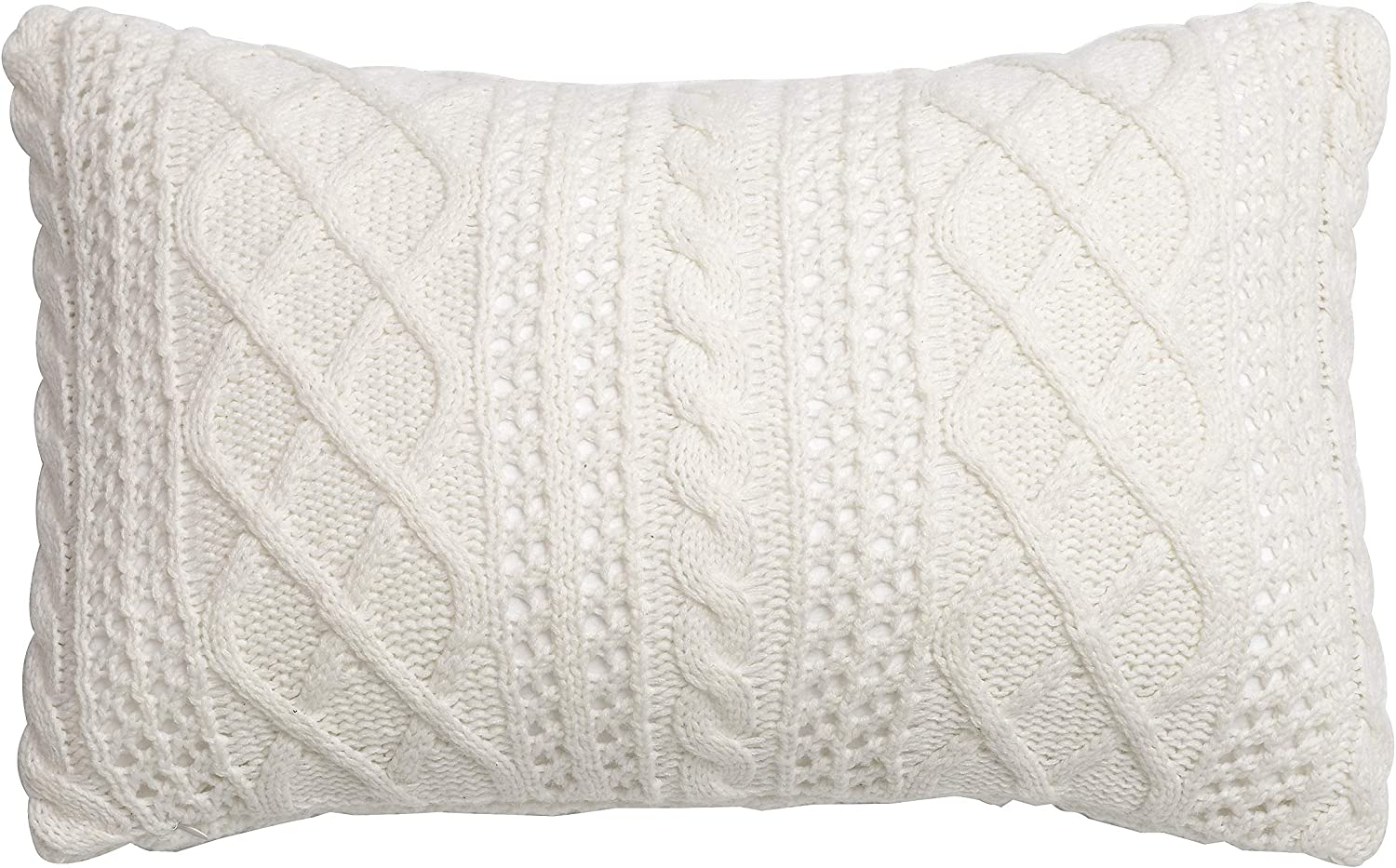 Amazon Com Lumbar Decorative Throw Pillow Cover Sweater Knit Rectangular Cushion Case For Couch Chair Bed And Home Accent Decor 12 X 20 Inch 30 X 50 Cm Cream Home Kitchen