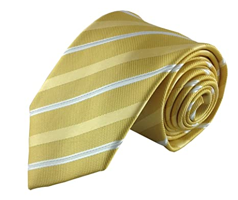 Color amarillo mostaza con rayas de plata Skinny – Corbata Vesuvio ...