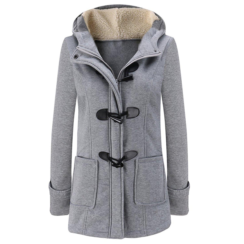 e41782d94189 Amazon.com: TOOGOO(R) Women's Spring Autumn Trench Coat Long Overcoat Female  Hooded Coat Zipper Horn Button Outwear£¨light Grey,L/US-8): Clothing