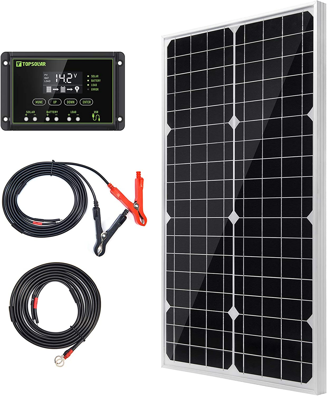 Topsolar Solar Panel Kit 30W 12V Monocrystalline Battery Charger Maintainer with 10A Charge Controller for RV