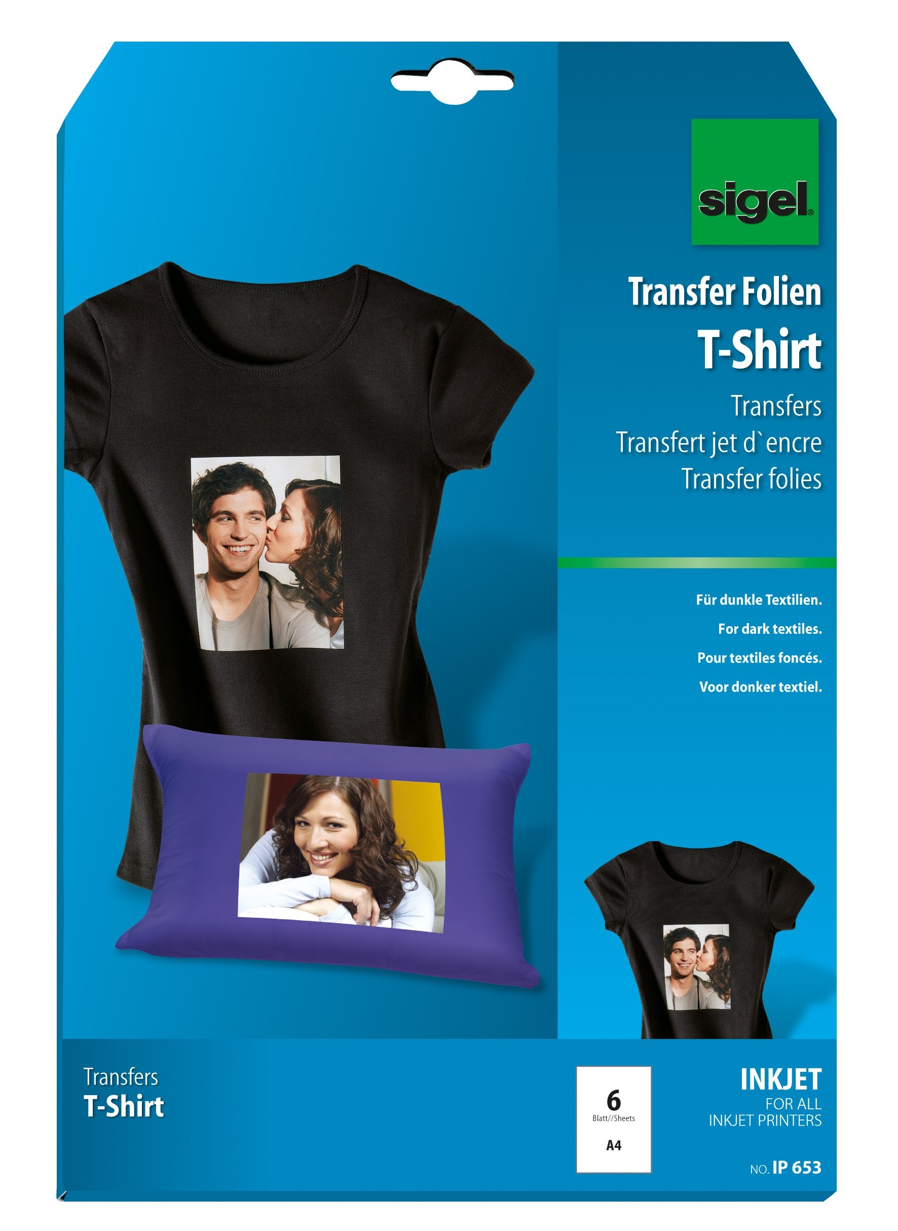 Sigel IP653 InkJet transfers for T-Shirts, for black textiles, incl. 6 sheets of ironing paper, 6 films