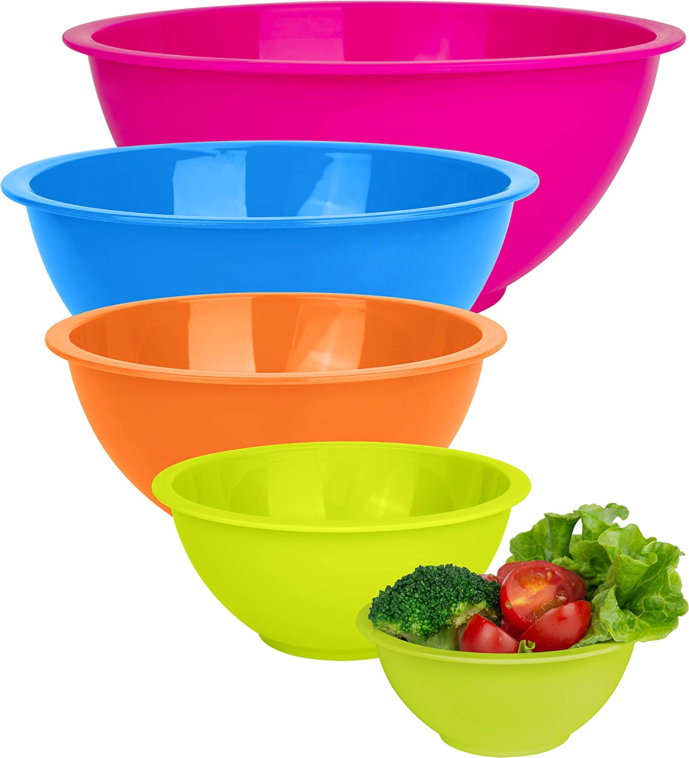 Set of 5 - Colorful Mixing Bowls - Plastic Mixing Bowl Set for Kitchen – Stackable Plastic Mixing Bowls – Dishwasher Safe Kitchen Bowls – BPA Free – Great for Cooking Serving Salads, Snack, Fruits,
