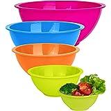 Set of 5 - Colorful Mixing Bowls - Plastic Mixing Bowl Set for Kitchen – Stackable Plastic Mixing Bowls – Dishwasher Safe Kit