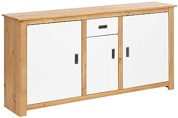 Loft24 Kara Sideboard Kommode Schrank Anrichte Küche Landhaus Kiefer  Massiv, 3 Türen, 1 Schublade, Metallgriff (weiß/gebeizt geölt)