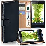 MoEx Sony Xperia L Hülle Schwarz mit Karten-Fach [OneFlow 360° Book Klapp-Hülle] Handytasche Kunst-Leder Handyhülle für Sony Xperia L Case Flip Cover Schutzhülle Tasche