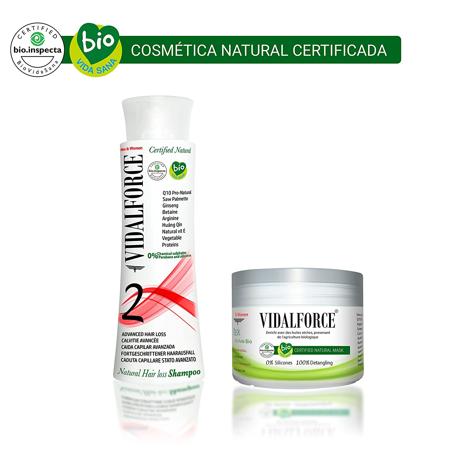 VidalForce Champu V1 Anti-caida Natural Certificado Primeros Sintomas + Volumen Instantaneo: Amazon.es: Belleza