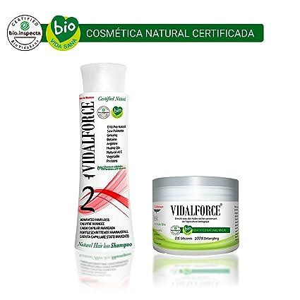Vidalforce PACK Champu 2 + Mascarilla BIO De Argán, Karite, Jojoba De Origen Ecologico
