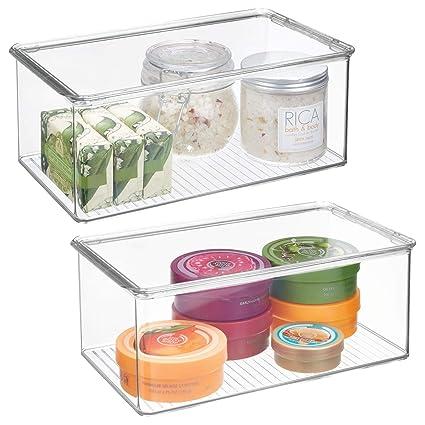 amazon com mdesign long plastic stackable storage container bin box rh amazon com bathroom storage containers ikea bathroom storage containers for sale