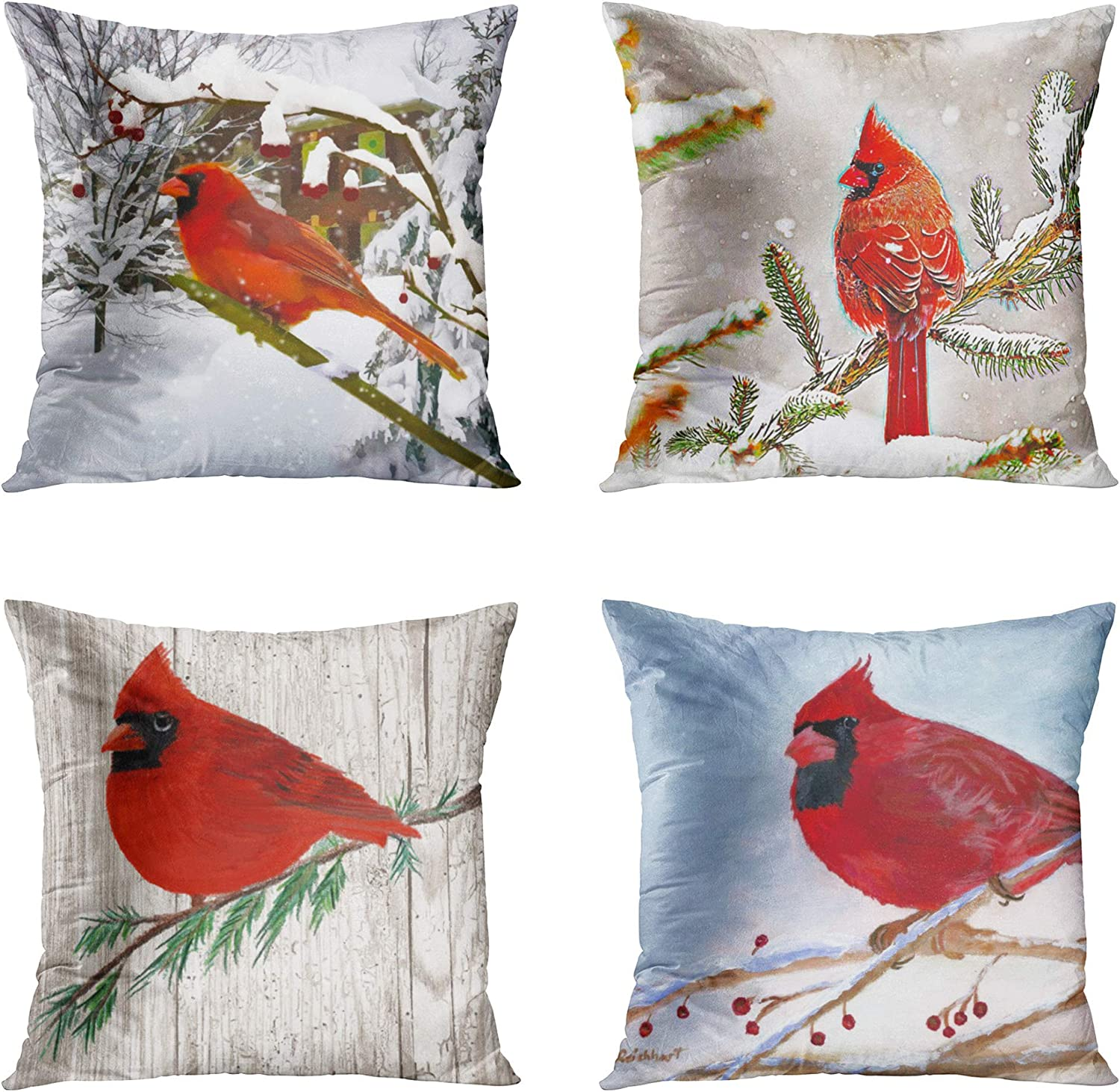 Amazon Com Accrocn Set Of 4 Throw Pillow Covers 16x16 Inch Red Snowflakes Cardinal Bird Snow Winter Animals Nature Wildlife Home Decor Cushion Covers Square Pillowcases For Sofa Couch Home Kitchen
