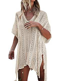 a05b0ce2c3 FMing Women's Solid Oversized V-Neck Beach Bikini Cover Up Swimsuit ...