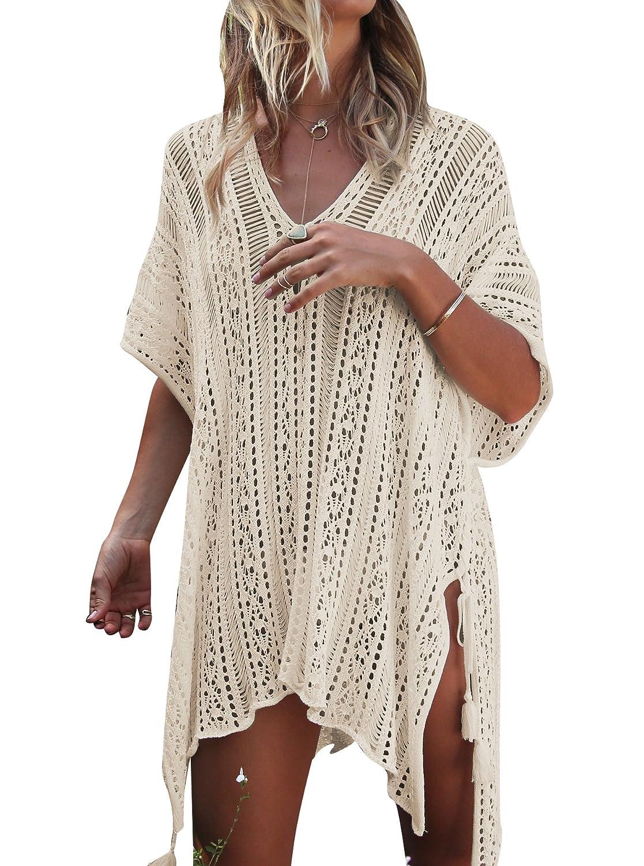 c94f5ec347eb5 Women s Bathing Suit Cover Up for Beach Pool Swimwear Crochet Dress ...