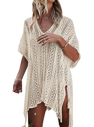 beb4746f12 Jeasona Women s Bathing Suit Cover Up Beach Bikini Swimsuit Swimwear Crochet  Dress (Beige