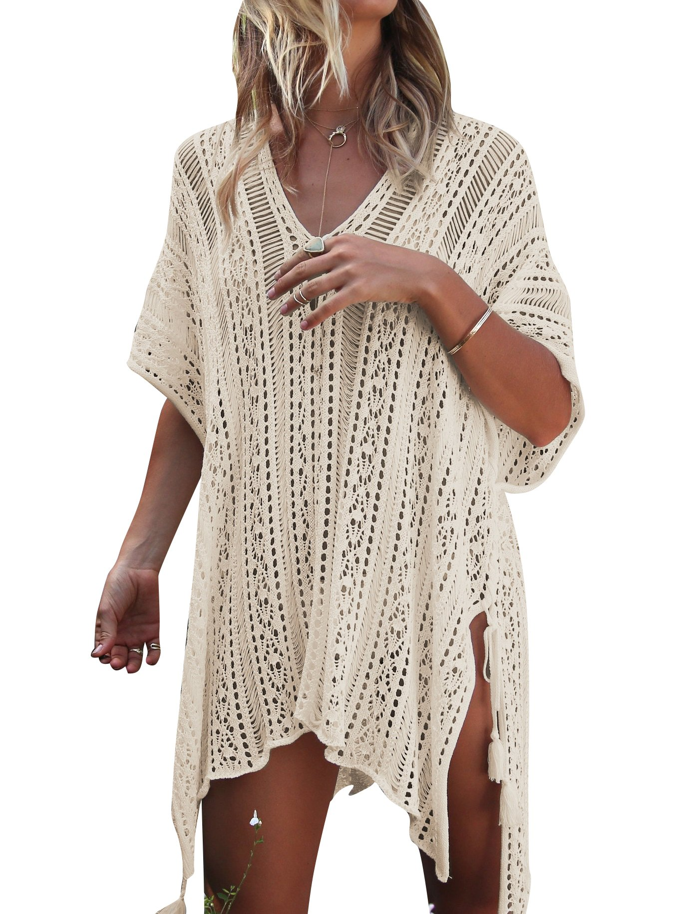 Jeasona Women's Bathing Suit Cover up Beach Bikini Swimsuit Swimwear Crochet Dress (Beige, M)