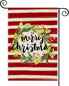 AVOIN Merry Christmas Watercolor Stripes Holly Berry Wreath Garden Flag Vertical Double Sized, Winter Holiday Party Yard Outdoor Decoration 12.5 x 18 Inch