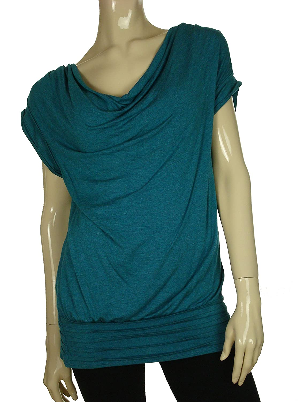 Womens Drape Neck Jersey Tunic Top High-Tide Pool Blue L
